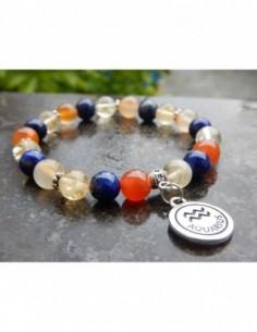 """Bracelet astrologique """"Verseau"""" composé de lapis lazuli, cornaline et citrine et sa médaille astrologique Verseau"""