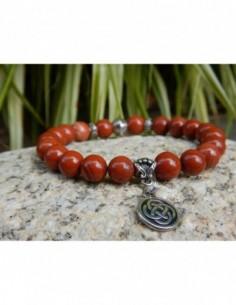 Bracelet en pierres naturelles de jaspe rouge, perle et médaille double infini celte en métal argenté