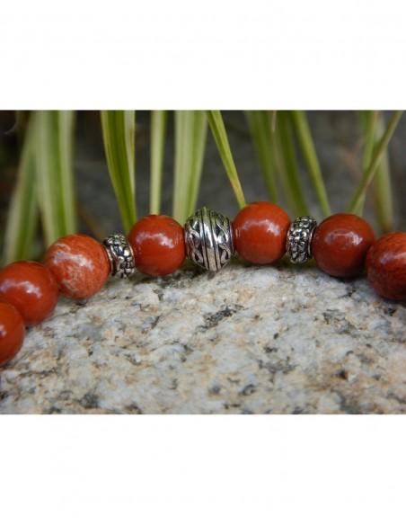 Bracelet en jaspe rouge, perle et médaille double infini celte en métal argenté