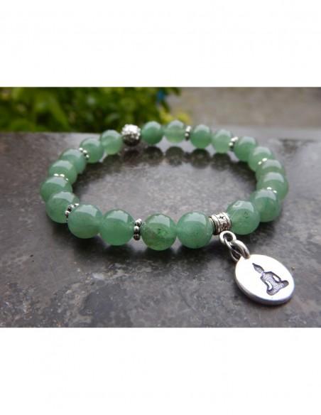Bracelet en pierres naturelles d'aventurine, perles de 8 mm, perle argentée et médaille bouddha méditant en métal argenté