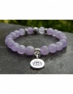 Bracelet en pierres naturelles d'améthyste lavande, perles 8 mm avec médaille fleur de lotus en métal argenté