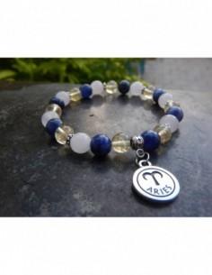 """Bracelet """"Bélier"""" en pierres naturelles de quartz rose, sodalite et citrine, perles de 8 mm et sa médaille Bélier"""