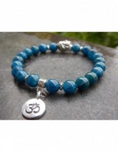 Bracelet apatite, perles 8 mm, médaille Aum, perle bouddha