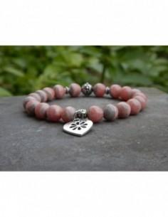 Bracelet en pierres naturelles de rhodochrosite, perles 8 mm et sa médaille coeur en métal argenté