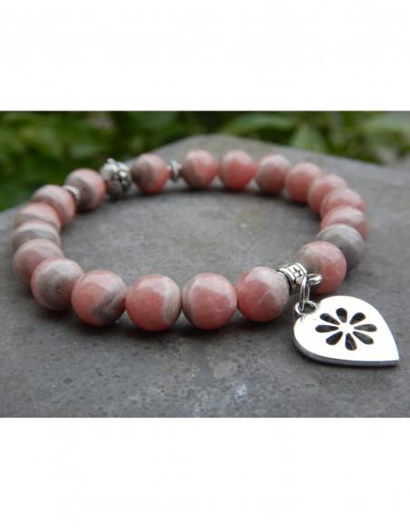Bracelet en rhodochrosite, perles 8 mm et sa médaille coeur en métal argenté