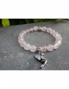 Bracelet femme en pierres naturelles de quartz rose, médaille fée et perle coeur en métal argenté