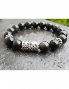 Bracelet en pierres naturelles d'obsidienne dorée en perles de 10 mm et sa perle de Bali en argent