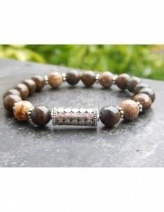 Bracelet en pierres naturelles de bronzite et de jaspe paysage, perles 8 mm et sa perle de Bali en argent
