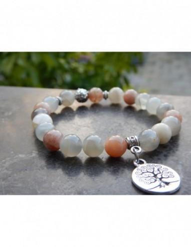 Bracelet en pierres naturelles de pierres de lune, perles 8 mm et sa médaille arbre de vie en métal argenté
