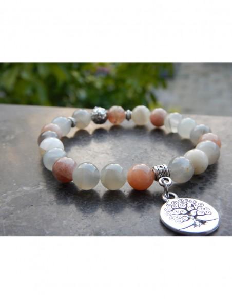 Bracelet pierre de lune multicolore, perles 8 mm, médaille arbre de vie