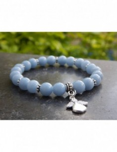 Bracelet en pierres naturelles d'angélite,perles 8 mm et sa médaille ange en métal argenté