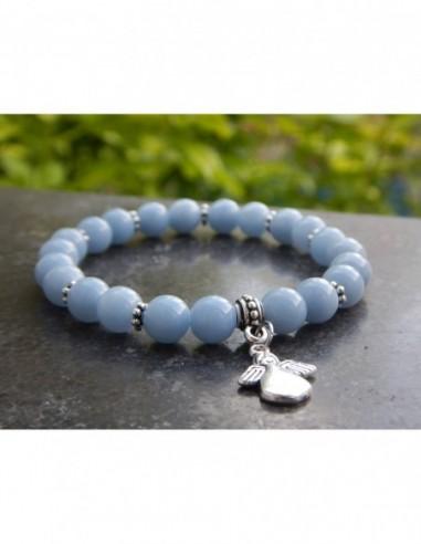 Bracelet en angélite,perles 8 mm, médaille ange