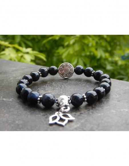 Bracelet en pierres naturelles d'oeil de faucon, perles de 8 mm, perle mandala et médaille lotus en métal argenté