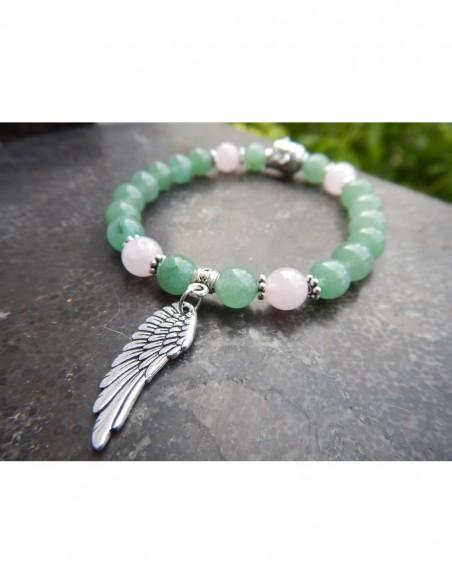Bracelet en aventurine et quartz rose, médaille aile d'ange et perle bouddha en métal argenté