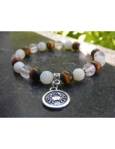 """Bracelet astrologique """"Cancer"""" composé de pierre de lune, Quartz rose et oeil de tigre et sa médaille astro """"cancer"""""""