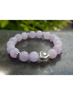 Bracelet enfant en améthyste lavande, perles de 8 mm et sa perle coeur en métal argenté haute qualité