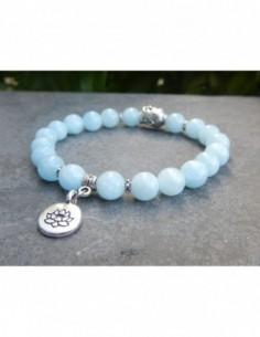 Bracelet en pierres d'aigue-marine, perles 8 mm avec tête de bouddha et médaille fleur de lotus en métal argenté