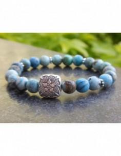 Bracelet en pierres naturelles d'opale d'Afrique, perles bleues de 8 mm, et perle style mandala en argent de Bali
