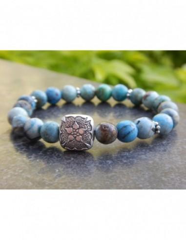 Bracelet en opale d'Afrique, perles bleues de 8 mm, et perle style mandala en argent de Bali