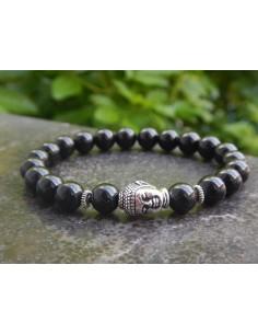 Bracelet en pierre de tourmaline et sa tête de bouddha