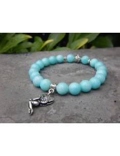 Bracelet en Amazonite du Pérou, perles bleues turquoise de 8 mm et sa médaille fée en métal argenté
