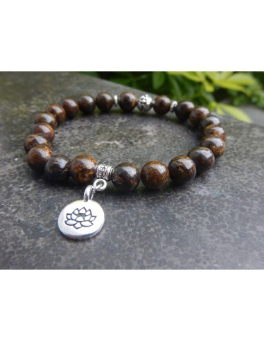Bracelet en pierres naturelles de bronzite, perles marron de 8 mm, médaille fleur de lotus en métal argenté