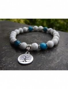 Bracelet en pierres naturelles d'howlite et apatite, perles 8 mm et sa médaille arbre de vie en métal argenté