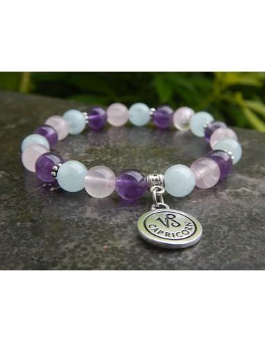 """Bracelet astrologique """"capricorne """" en pierres naturelles de 8 mm d'aigue-marine, de Quartz rose et d'améthyste"""