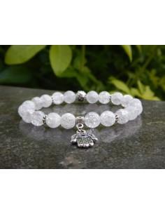 Bracelet en cristal de roche craquelé et main de Fatma