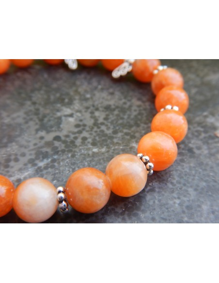 Bracelet en pierres naturelles de calcite orange