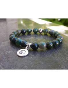 Bracelet en pierres naturelles d'agate mousse