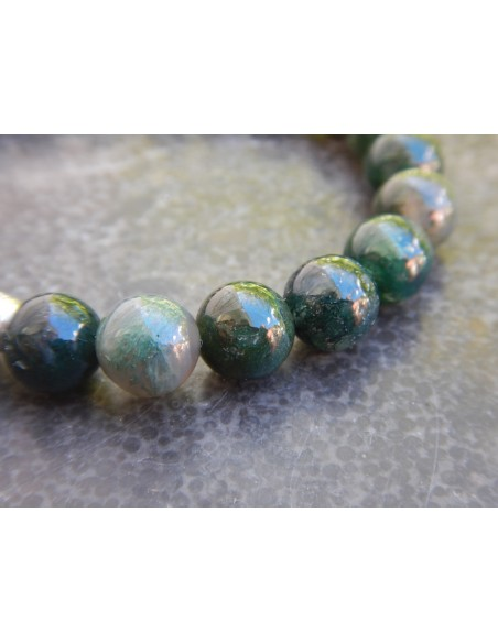 Bracelet agate mousse, perles de 8 mm, médaille yin yang