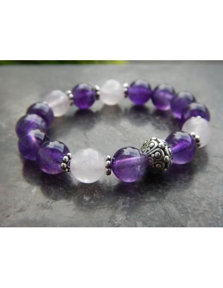 Bracelet enfant en pierres naturelles de quartz rose et d'améthyste