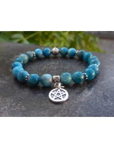 Bracelet apatite bleue, médaille pentagramme