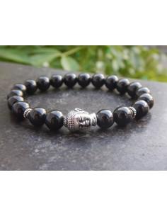 Bracelet homme en pierres naturelles de spinelle noir