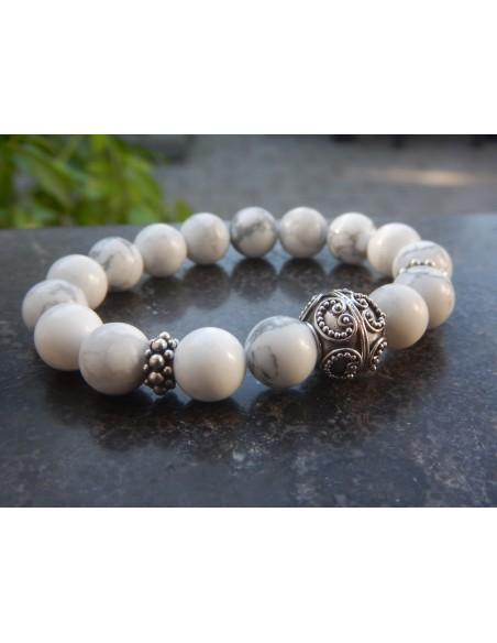 Bracelet howlite, perles de 10 mm, perle argent
