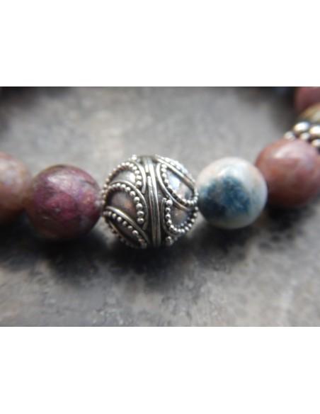 Bracelet en pierre naturelle de tourmaline multicolore