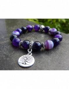 Bracelet en pierres naturelles d'agate teintées violettes, perles 10 mm et sa médaille arbre de vie en métal argenté