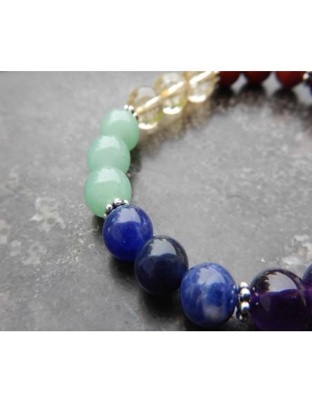 Bracelet réalignement chakras en pierres naturelles de 8 mm et sa médaille aum en métal argenté