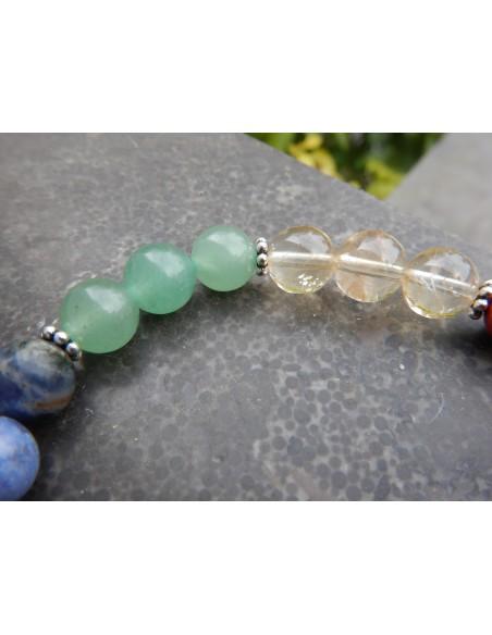 Bracelet en pierres naturelles réalignement des chakras et perle bouddha métal argenté