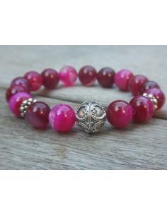 Bracelet en pierres naturelles d'agate teintée rose