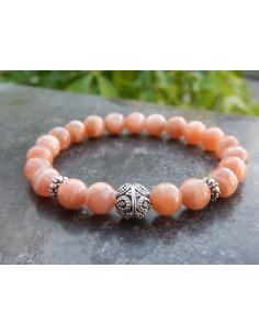 Bracelet en pierres de lune orange, perles de 8 mm et sa perle Argent