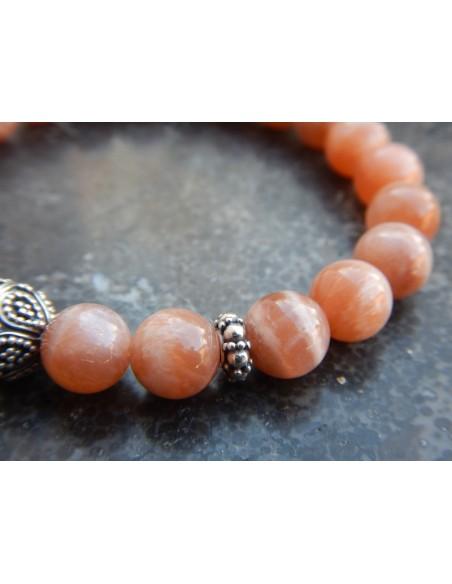 Bracelet en pierres naturelles de pierres de lune orange