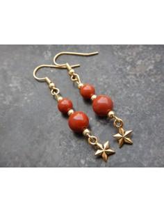 Paire de boucle d'oreille en jaspe rouge