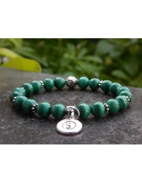 Bracelet malachite, perles 8 mm, médaille Yin Yang