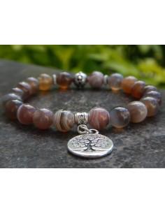 Bracelet agate botswana, perles 8 mm, médaille arbre de vie